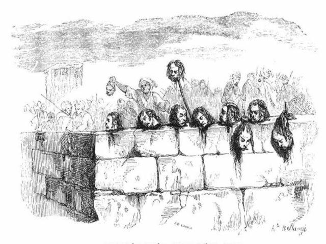 ראשי חיילים צרפתים שתלו לוחמיו של אל-ג'זאר על חומות עכו כדי להמחיש לתוקפים את הגורל הצפוי להם.